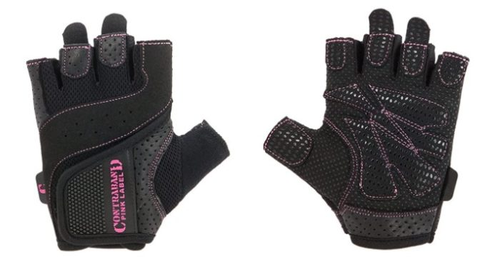 contraband pink padded weighlifting gloves