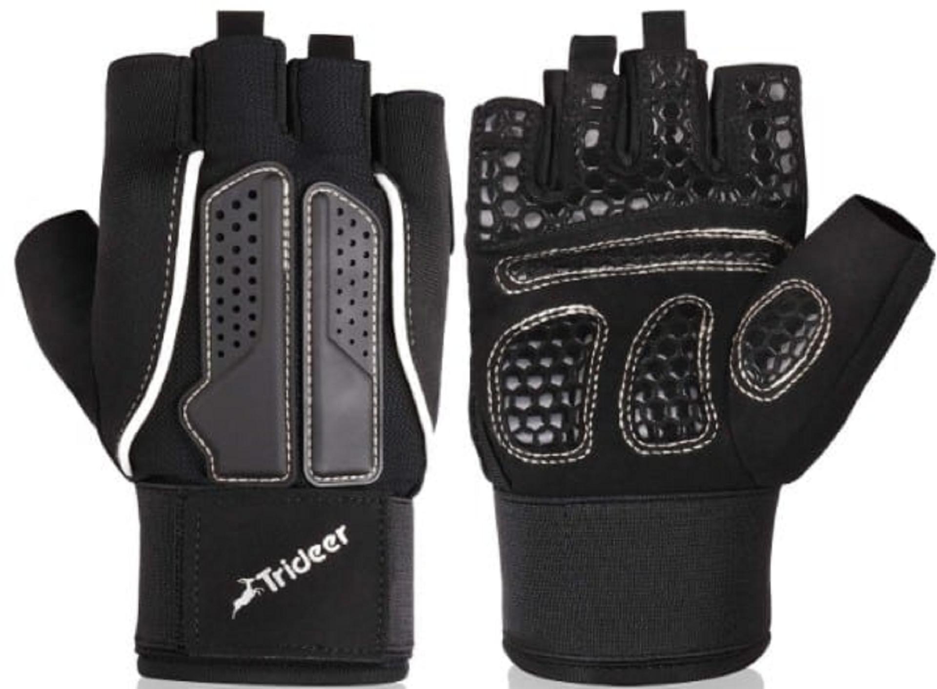 trideer half-cut weight lifting gloves