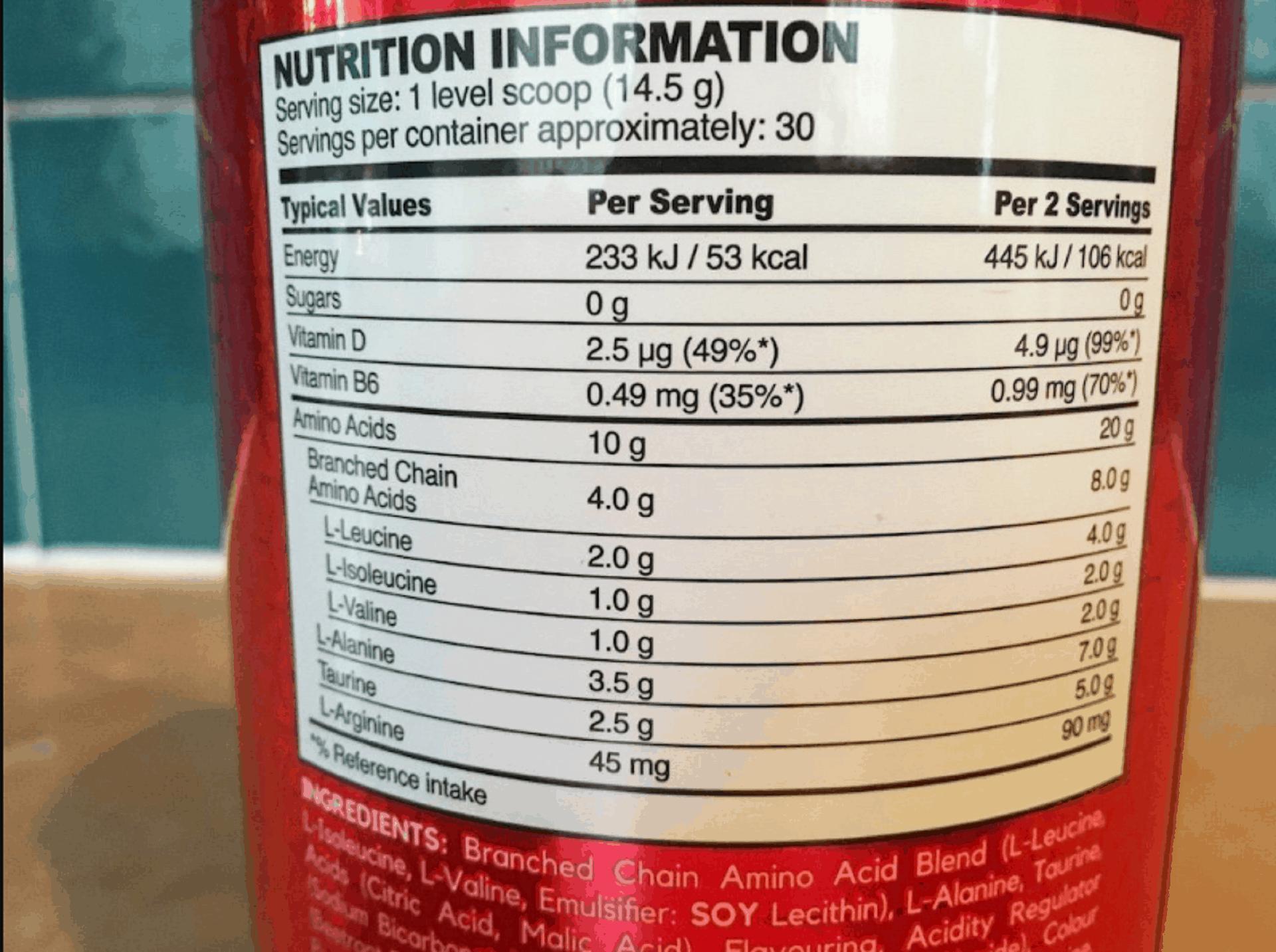 bsn amino x ingredients